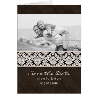 Wedding Invitation Greeting Card Brown Damask