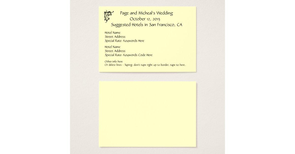 Wedding Invitation Accommodation Insert Wording: Wedding Invitation Hotel Reservation Suggestion