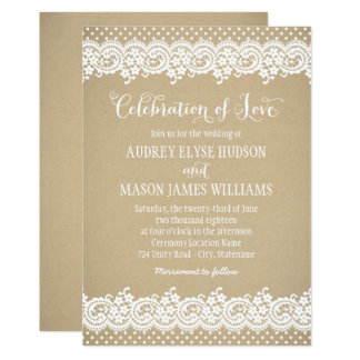 Wedding Invitation | Lace and Kraft