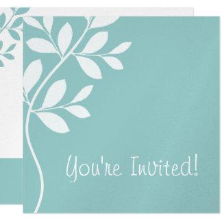 Wedding Invitation Leaf Branch Baby Blue Silver