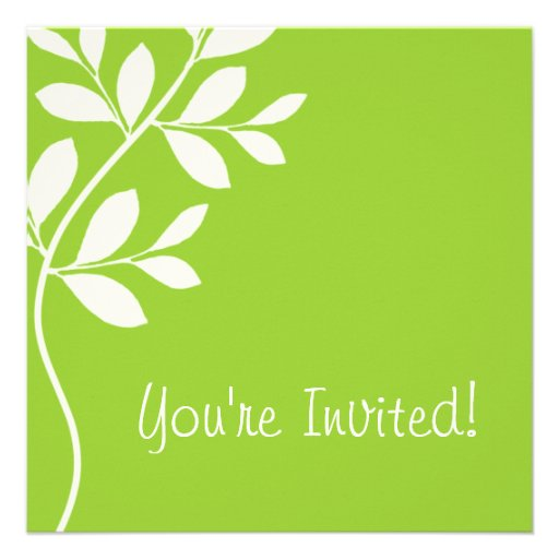 Wedding Invitation Leaf Branch Lime