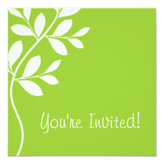 "Wedding Invitation Leaf Branch Lime 5.25"" Square Invitation Card"