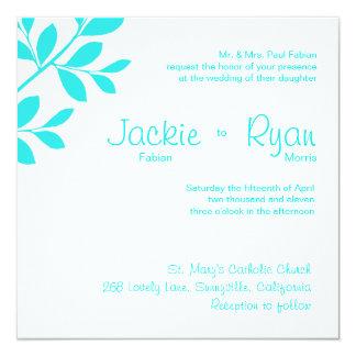 Wedding Invitation Leaf Branch Turquoise Blue
