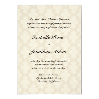 Wedding invitation - Linen with damask waves