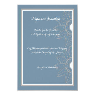 Wedding Invitation, Medium Blue with Flowers Card