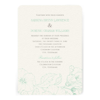 Wedding Invitation | Mint Green Hibiscus Design Invites