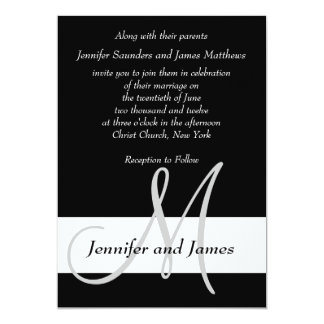Wedding Invitation Monogram Black and White
