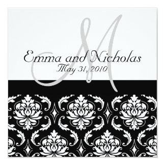 Wedding Invitation Monogram Damask Back View