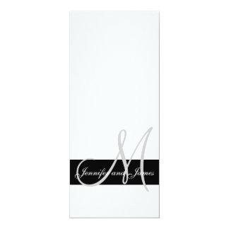 Wedding Invitation Monogram Names Black and White