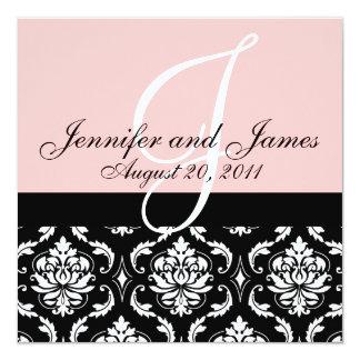 Wedding Invitation Monogram Names Date Pink Damask