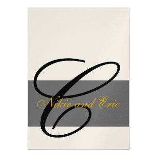 "Wedding Invitation Monogram Names Gold Black Gray 5"" X 7"" Invitation Card"
