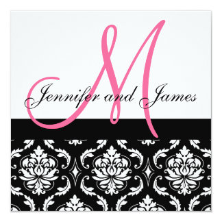 "Wedding Invitation Monogram Names Hot Pink Damask 5.25"" Square Invitation Card"