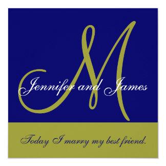 Wedding Invitation Monogram Saying Name Green Navy