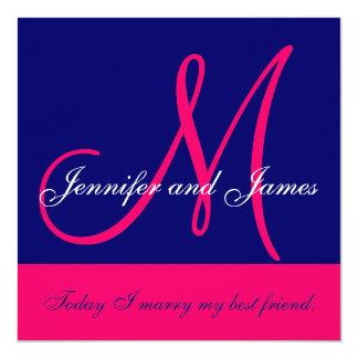 Wedding Invitation Monogram Saying Names Pink Navy