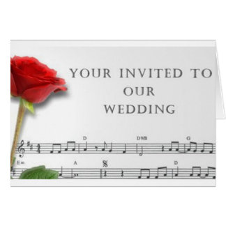 Wedding Invitation Music and Rose Greeting Card