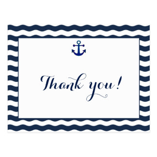Wedding Invitation | Nautical Navy Waves Thank You Postcard