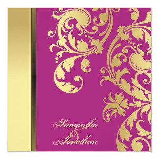 Wedding Invitation Pink Gold Shimmer Floral Swirls