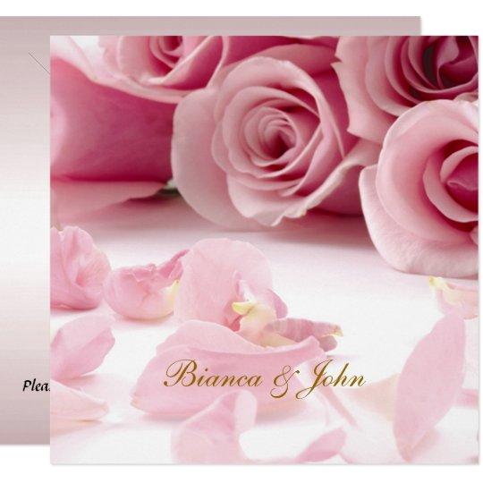 Wedding Invitation Pink Roses Elegant