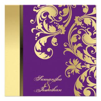 Wedding Invitation Purple Gold Shimmer Floral