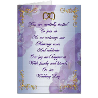 Wedding invitation Purple orchids gold hearts Greeting Card