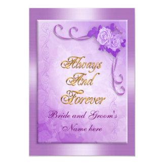Wedding Invitation purple rose
