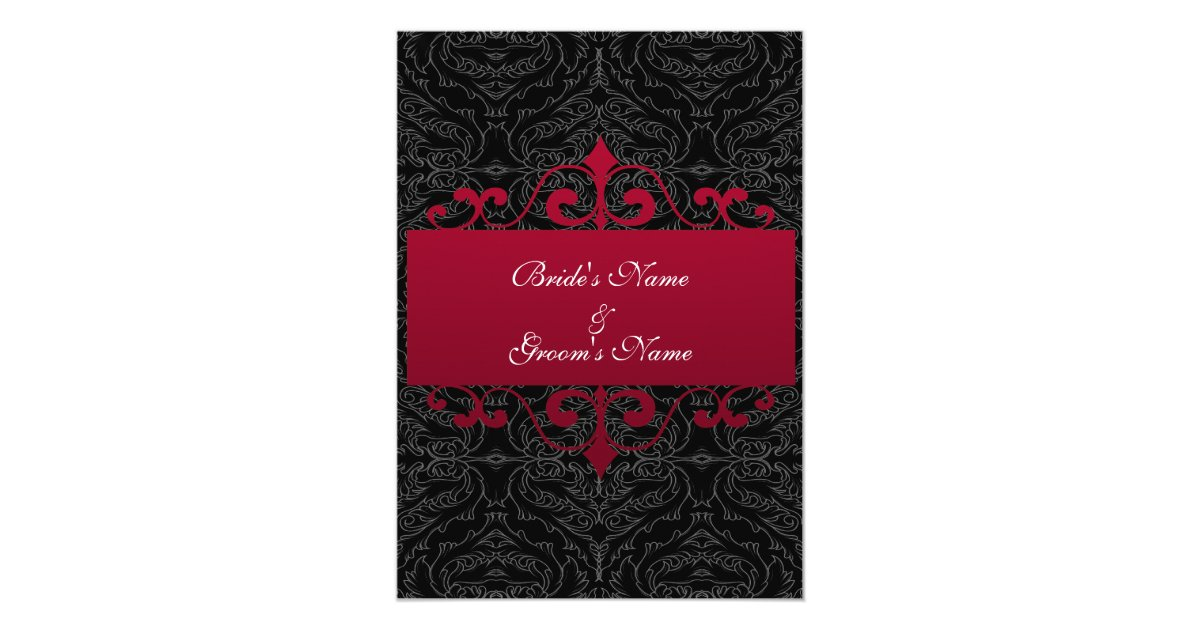 Wedding Invitations Red And Black: Wedding Invitation - Red And Black