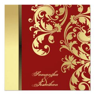 Wedding Invitation Red Gold Shimmer Floral Swirls