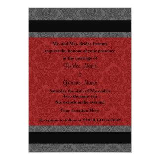 Wedding invitation red & gray damask