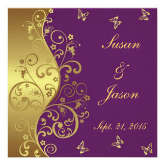 Wedding Invitation--Red Violet & Gold Swirls