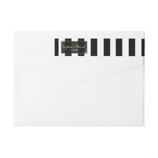 Wedding Invitation | Roses Gold Foil Black Stripes Wraparound Return Address Label