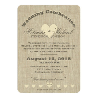 Wedding Invitation | Rustic Linen Monogram