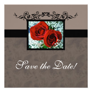 Wedding Invitation Save the Date Red Roses