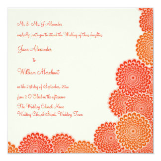 Wedding Invitation Tangerine & Cream Flowers