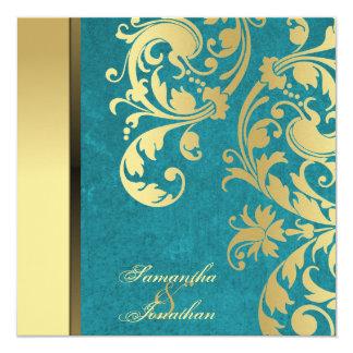 Wedding Invitation Teal Gold Shimmer Floral