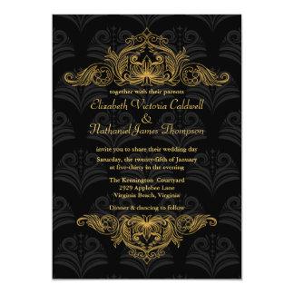 Wedding Invitation Vintage Gold filigree | black
