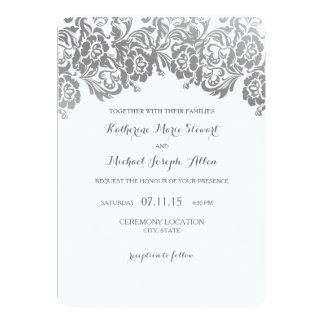 Wedding Invitation | Vintage Lace Silver
