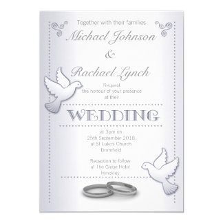 Wedding Invitation Vintage Silver Lovebirds