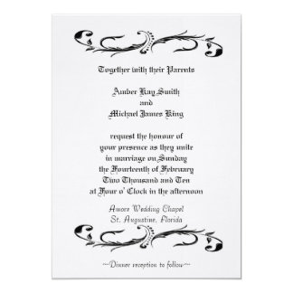 Wedding invitation white and black two side print