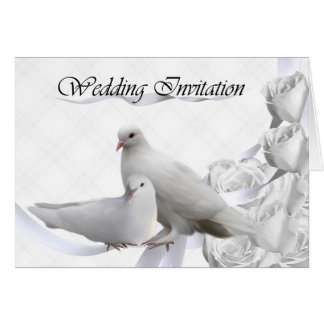 Wedding Invitation - White Doves, Roses