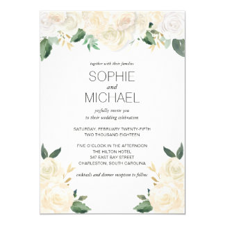 Wedding Invitation White Flowers