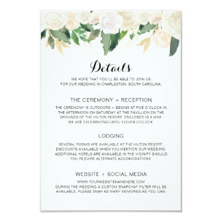 Wedding Invitation White Flowers - Details Card