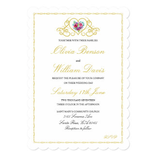 Wedding Invitation with Heart & Flowers Graphics