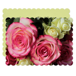 Wedding Invitation With Pink-Yellow Roses