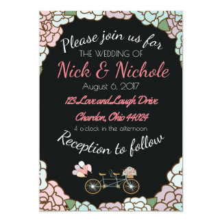 Wedding Invitation with Tandem Bicycle and Floral