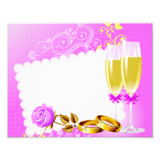 Wedding invitation with wine glasses,rings photo