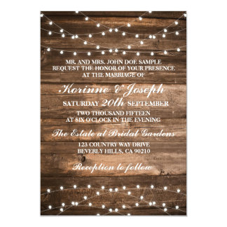 Wedding Invitation Wood and string lights