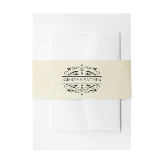 Wedding Invitation Wrap | Vintage Flourish Invitation Belly Band