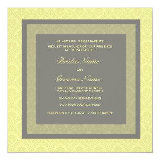Wedding Invitation Yellow Damask