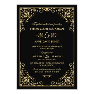 "Wedding Invitations | Art Deco Style 5"" X 7"" Invitation Card"
