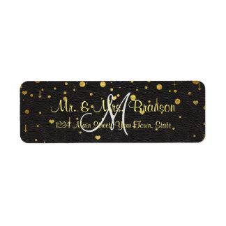 Wedding Invitations | Gold Confetti Monogram Return Address Label